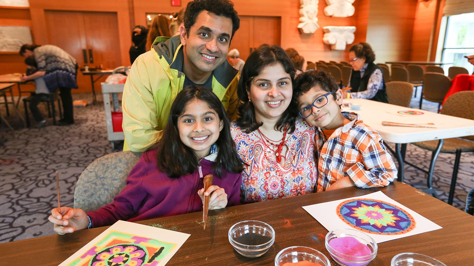 Family makes a mandala