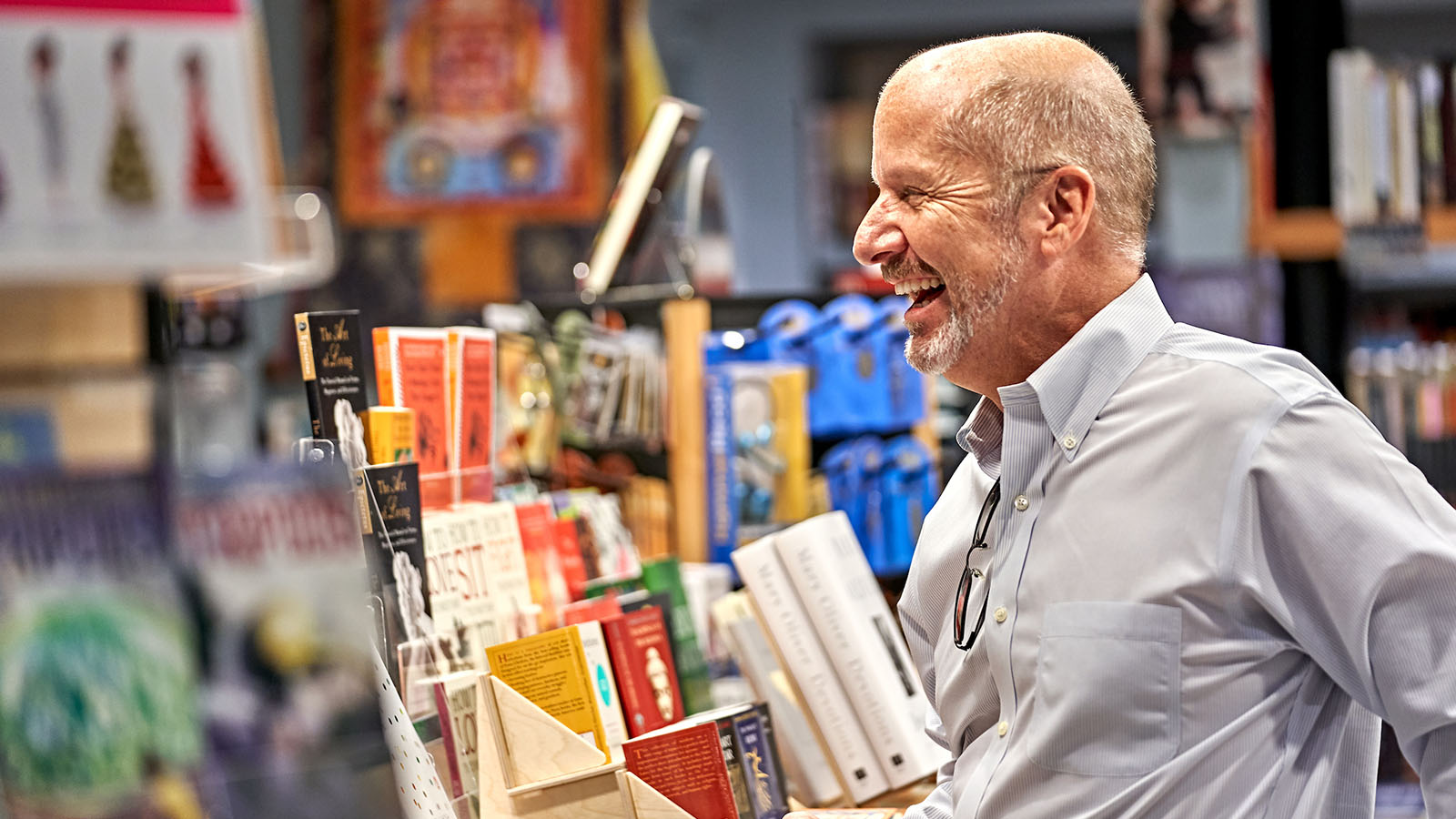 Man shops in bookshop