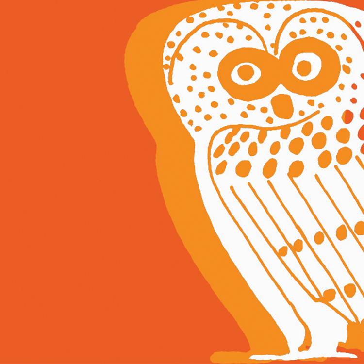 White owl on orange background