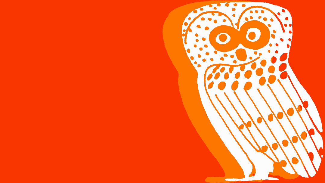 White owl on orange background