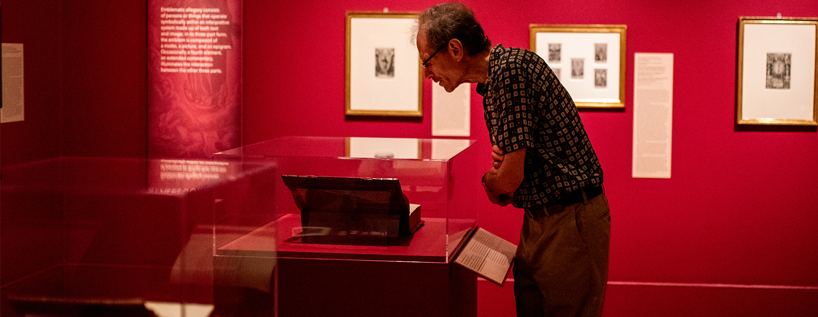 Man looks at a book in exhibition
