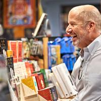 Man shops in the bookshop