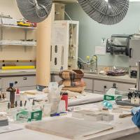 Conservators work in lab