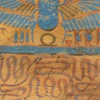 Coffin Base of a Priestly Official showing a scarab and Apophis